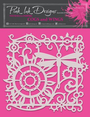 Pink Ink Designs - Cogs and Wings 8 in x 8 in Stencil